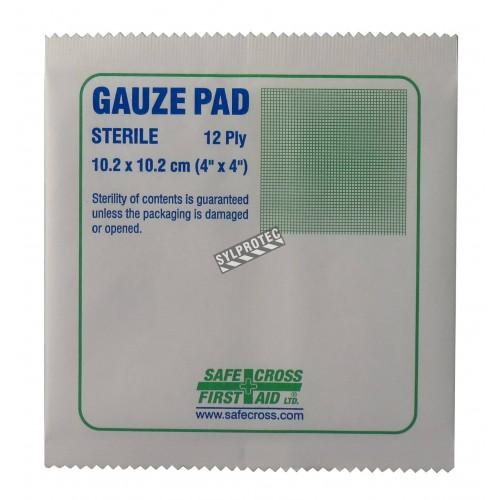 Sterile gauze pads, 4 x 4 in, 100/box.