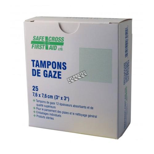 Tampons de gaze stériles, 3 x 3 po, 25/bte.