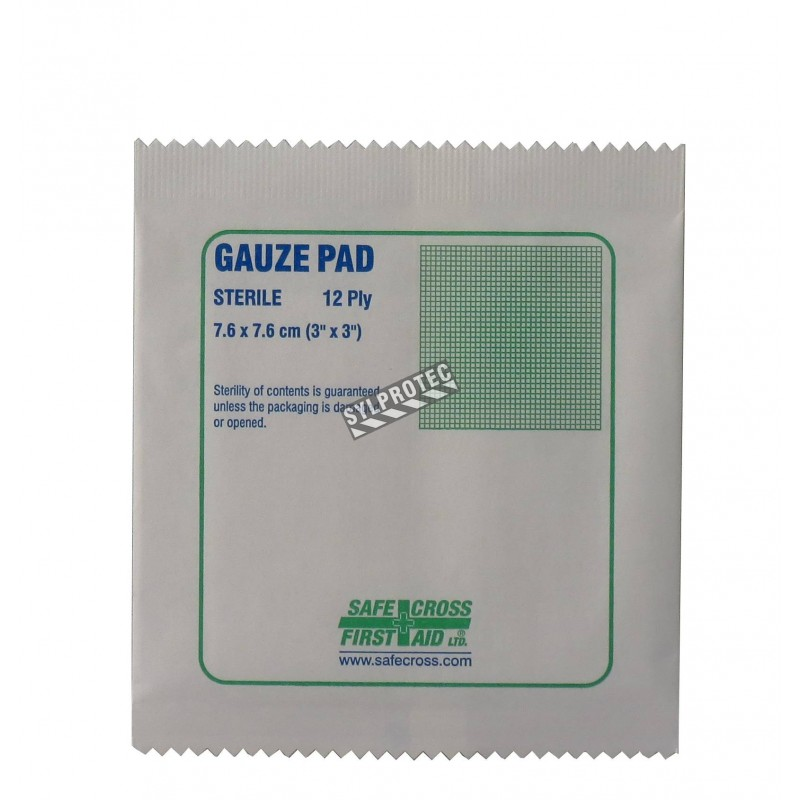 Sterile gauze pads, 3 x 3 in, 100/box.