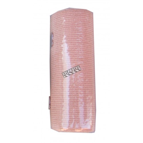 Beige elastic bandage roll, 6 in x 16 ft, sold individually.