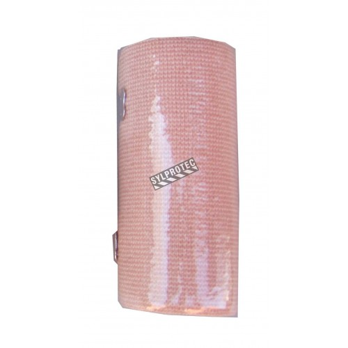 Beige elastic bandage roll, 4 in x 16 ft, sold individually.