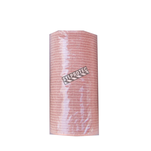 Beige elastic bandage roll, 3 in x 16 ft, sold individually.