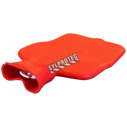Red rubber hot water bottle for heat therapy, capacity 2 liters (0.55 US gallons).