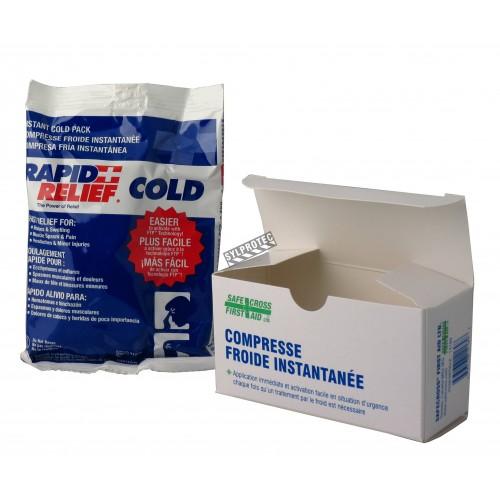 Compresse froide instantanée, sac dans une boîte de 4 x 6 po.