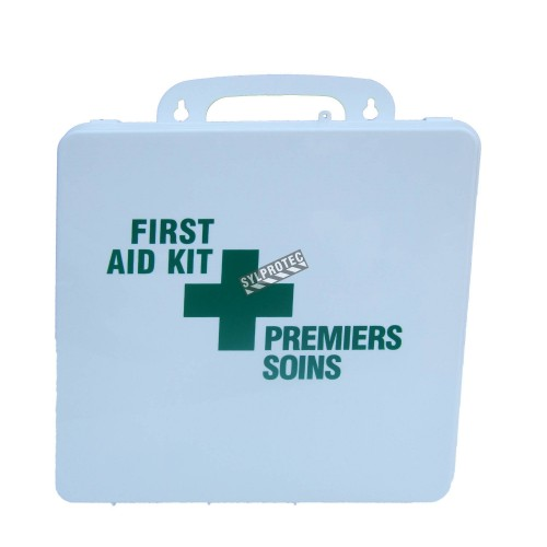 Burn first aid kit with 30 types of items, in portable plastic case.