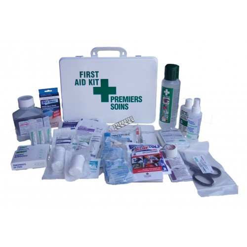 Chemical burn first aid kit with 31 types of items, in plastic case.