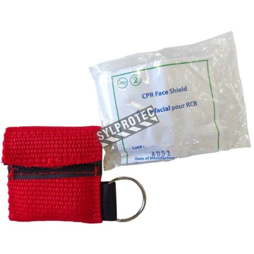 Disposable CPR facial shield with valve, in mini-pouch with key ring.