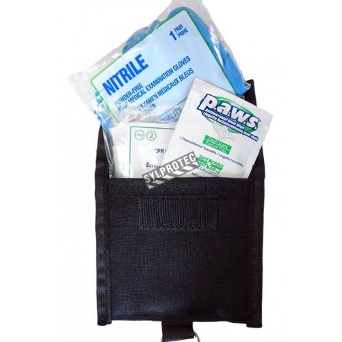 Ensemble pour RCR (écran, gants, lingette) dans une poche porte-clés avec boucle pour ceinture.