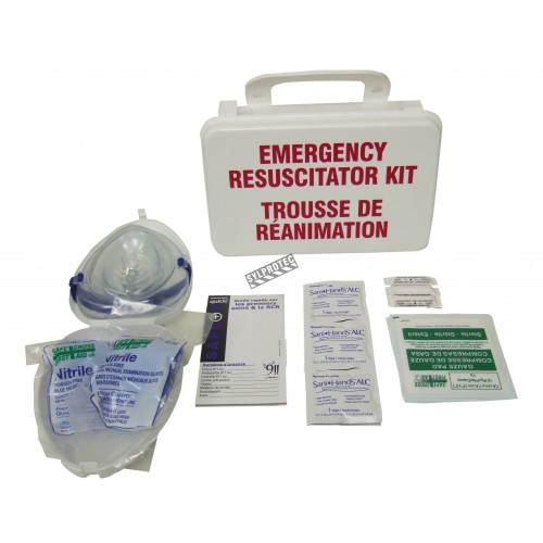CPR (resuscitation) kit in a plastic case.