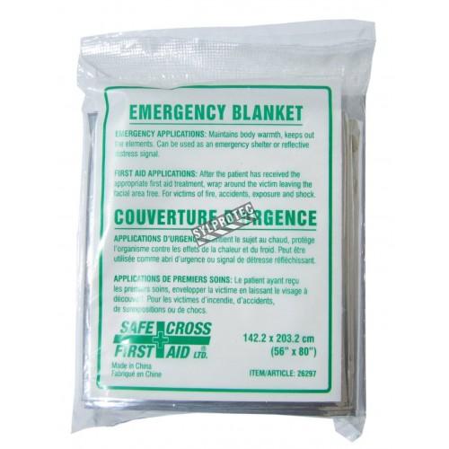 Weatherproof reflective mylar disposable emergency blanket, 204 x 140 cm (56 x 80 in).