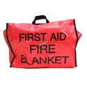 Fireproof gray wool blanket in red nylon carry bag with English label.