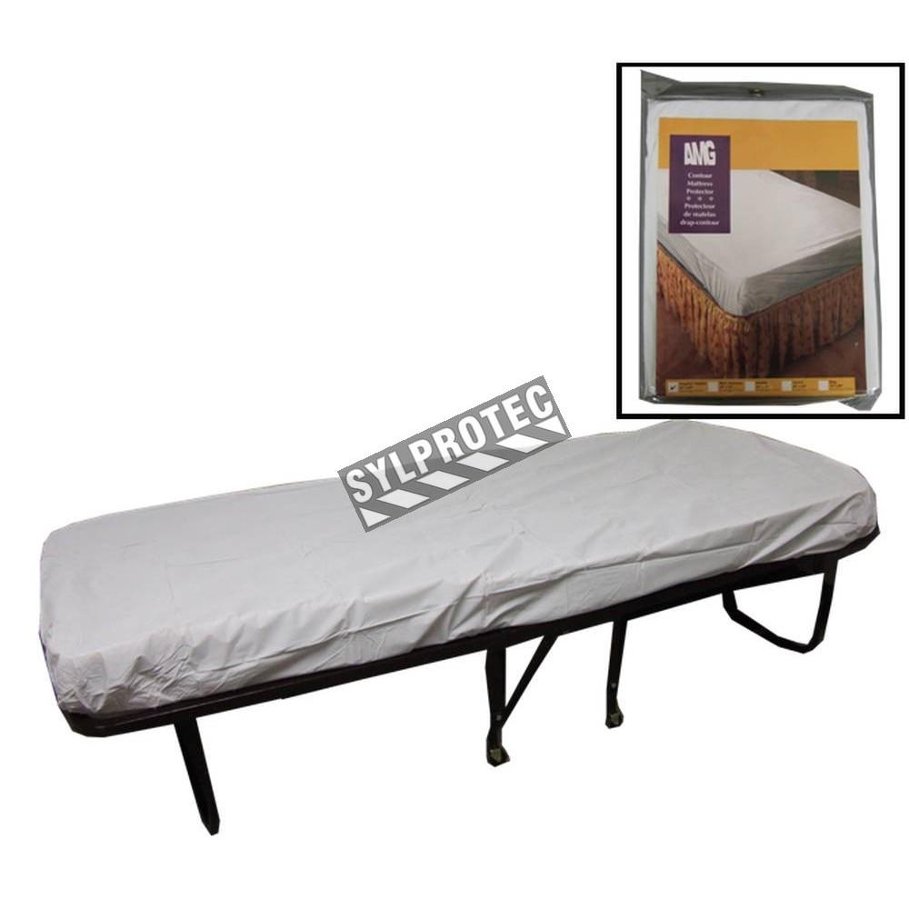 couvre matelas housse en vinyle blanc pour lit d 39 une place. Black Bedroom Furniture Sets. Home Design Ideas