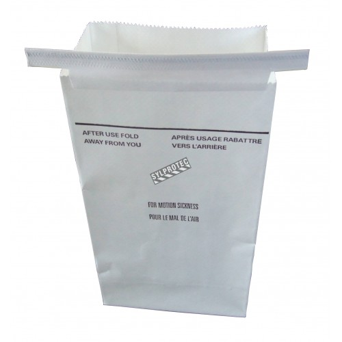 Emesis bag for sickness, white paper, sold individually.