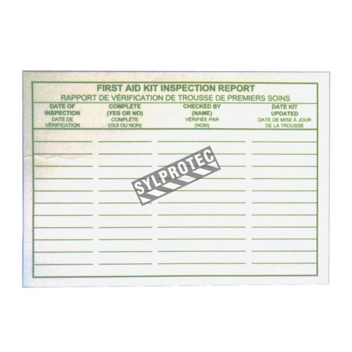 Adhesive first aid kit inspection report cards, 25/pkg.