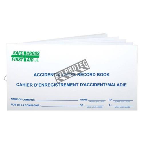 Livret pour registre d'accidents, incidents et maladies au travail, pour premiers soins.