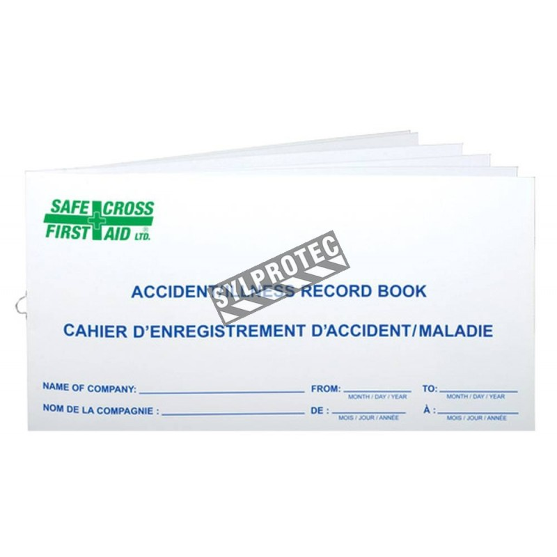 Report booklet for workplace accidents, incidents and illnesses, for first aid.