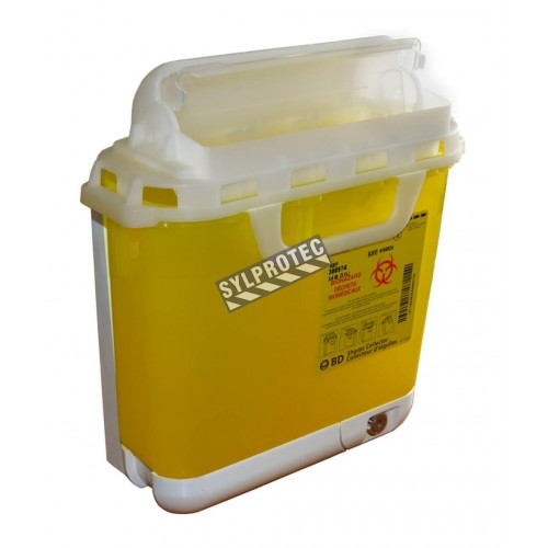 General purpose sharps waste container with wall bracket, 5.1 L (1.3 gallon).