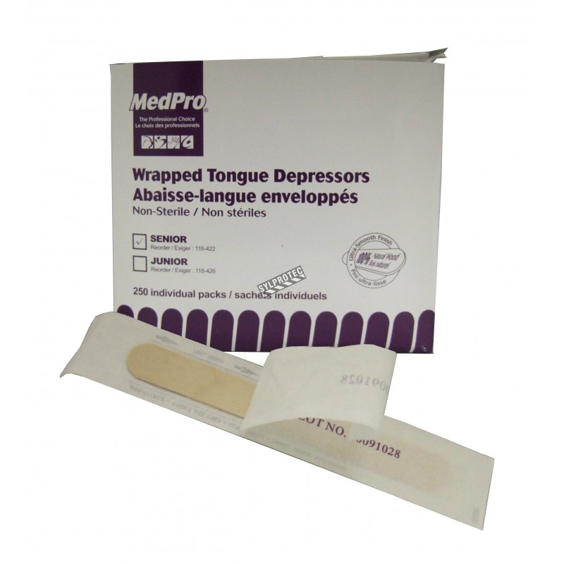 Non-sterile wooden tongue depressors, wrapped individually, 250/box.