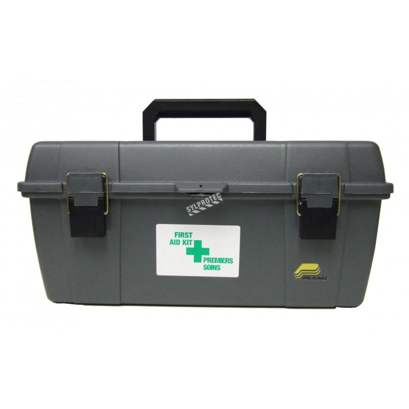 Utility first aid box in black high-impact plastic.