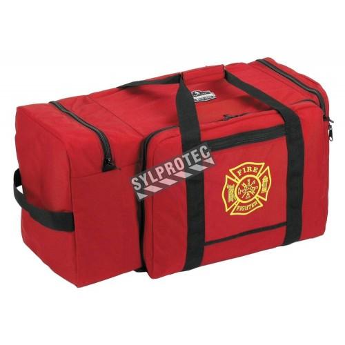 Grand sac de rangement robuste en polyester rouge, 4 compartiments, avec courroies amovibles pour l'épaule.