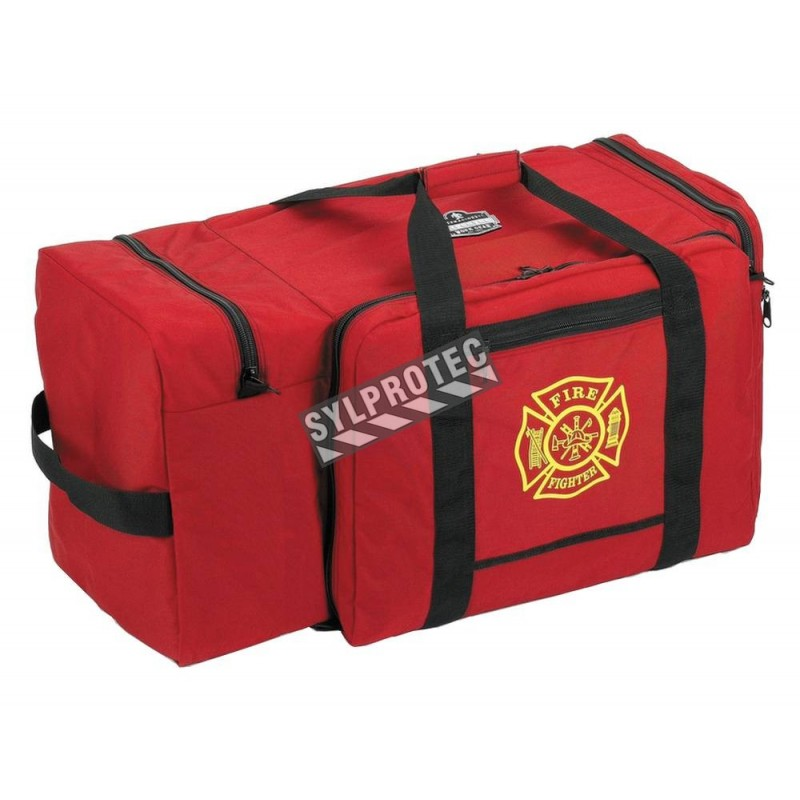 Large heavy-duty gear and storage bag made of red polyester, 4 compartments, with removable shoulder straps.