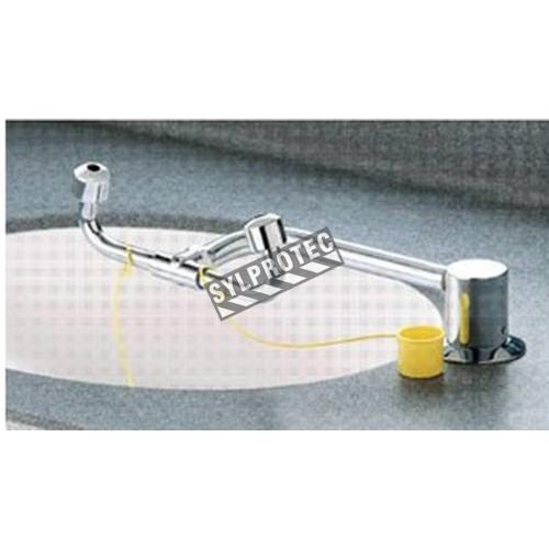 Pivoting eye wash for laboratory sink, certified ANSI Z358.1-2009.