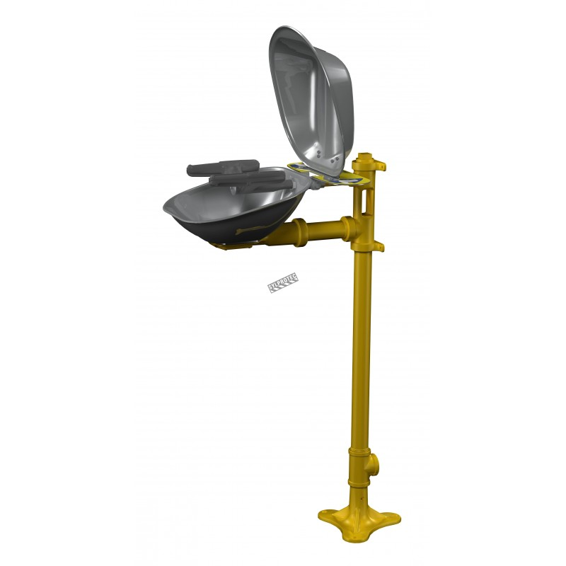 Bradley pedestal Halo eye wash with yellow plastic bowl and clear dust cover, certified ANSI Z358.1-2009.