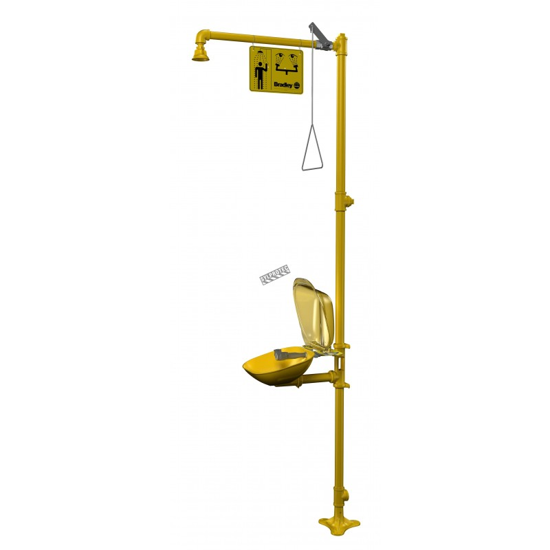Bradley combination emergency shower and eyewash with plastic bowl and dust cover, certified ANSI Z358.1-2009.