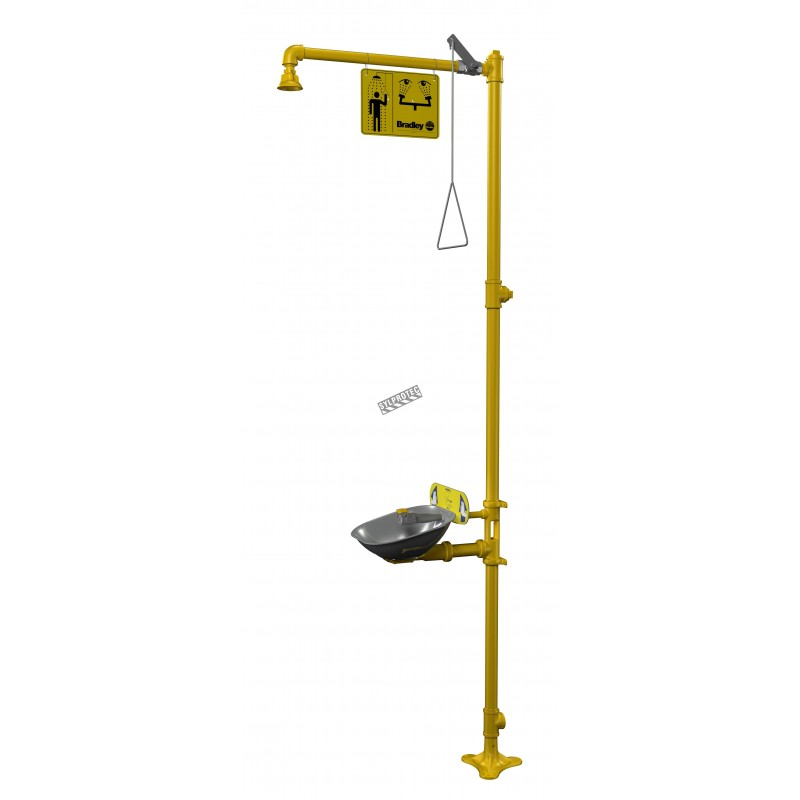 Bradley combination emergency shower and eyewash with steel bowl, certified ANSI Z358.1-2009.