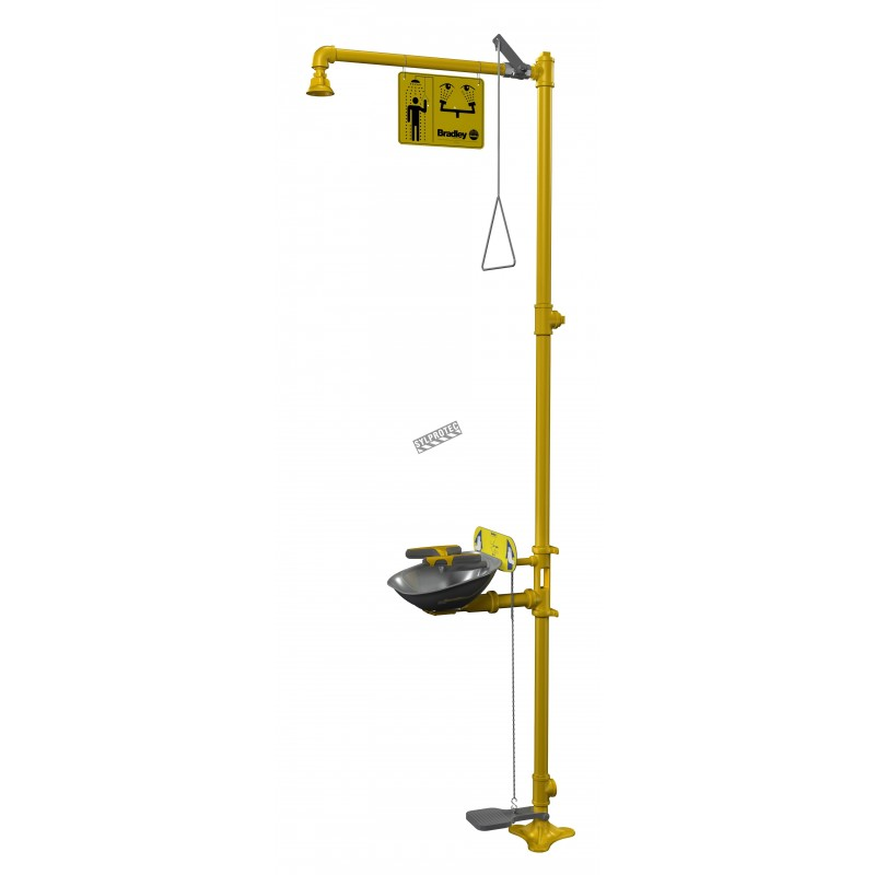 Bradley combination emergency shower and eye/face wash with steel bowl and pedal, certified ANSI Z358.1-2009.