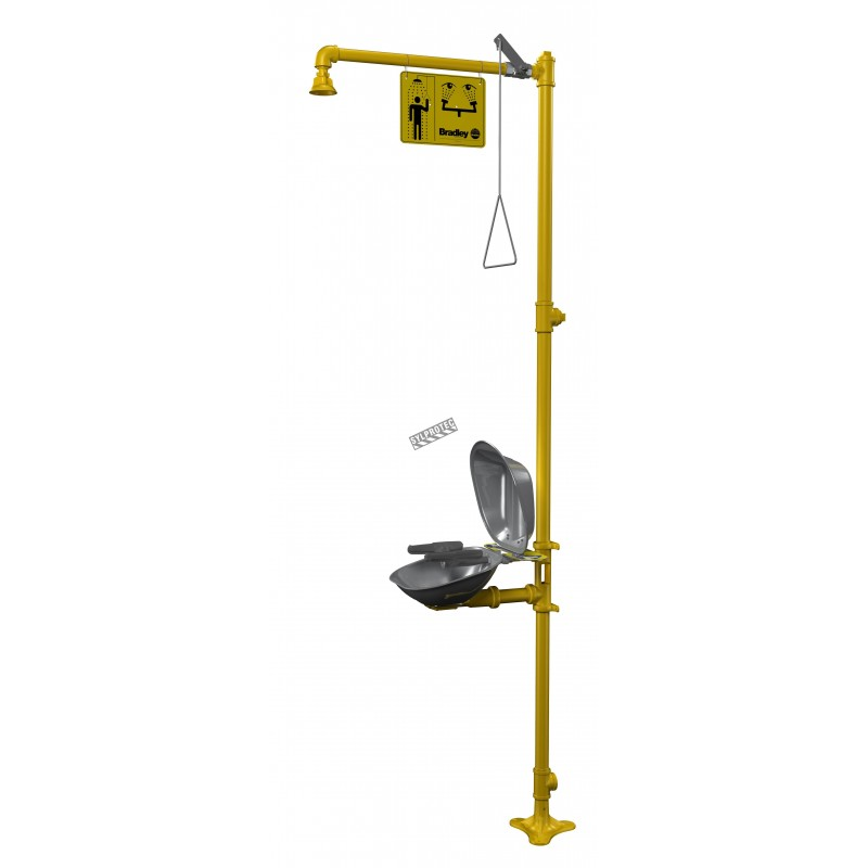 Bradley combination emergency shower and eye/face wash with steel bowl and dust cover, certified ANSI Z358.1-2009.