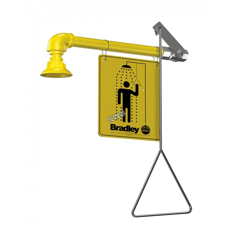 Bradley wall-mounted emergency safety shower, with horizontal water supply and plastic showerhead, certified ANSI Z358.1-2009.