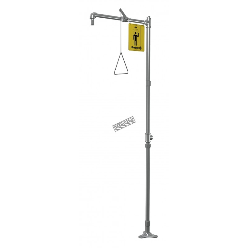Bradley floor-mounted emergency safety shower made of stainless steel, certified ANSI Z358.1-2009.