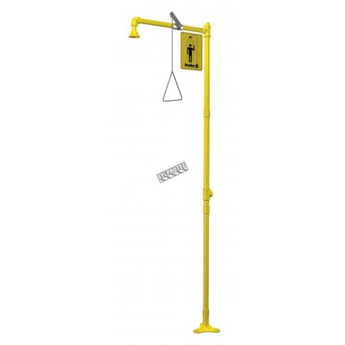 Douche corporelle d'urgence Bradley pour installation au plancher avec pommeau en plastique jaune, approuvée ANSI Z358.1-2009.