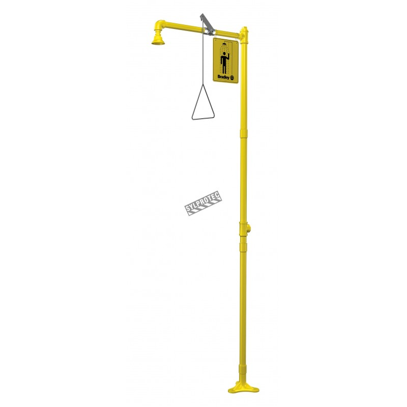 Bradley floor-mounted emergency safety shower with yellow plastic showerhead, certified ANSI Z358.1-2009.