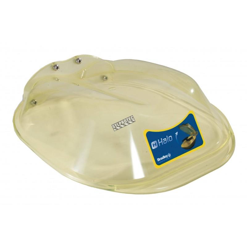 Couvercle pare-poussière en plastique jaune translucide pour douches oculaires ou faciales Halo par Bradley.