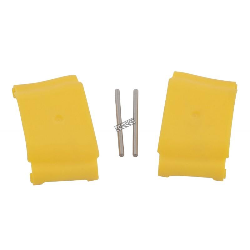 Couvercles jaunes en plastique pour têtes de douches oculaires Halo par Bradley.
