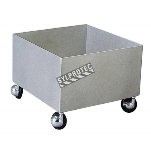 Cart for transporting portable eyewash stations (PD19690 and PD19788), made of stainless steel.
