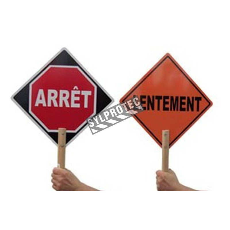 French ARRÊT / LENTEMENT (STOP / SLOW) traffic control paddle for school crossing guard, 12 inches x 12 inches.