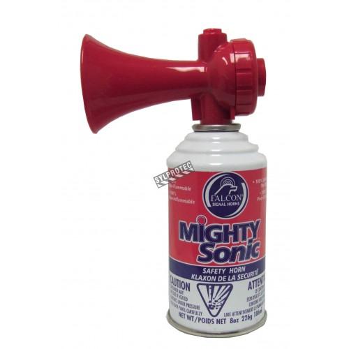 Avertisseur sonore en canette de 8 oz , ayant un sifflement strident de 120 dB à 10 pi.