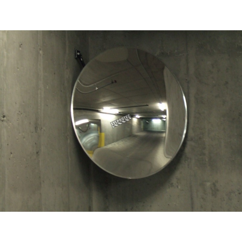Acrylic round convex mirror with adjustable arm, 100-degree field of view.