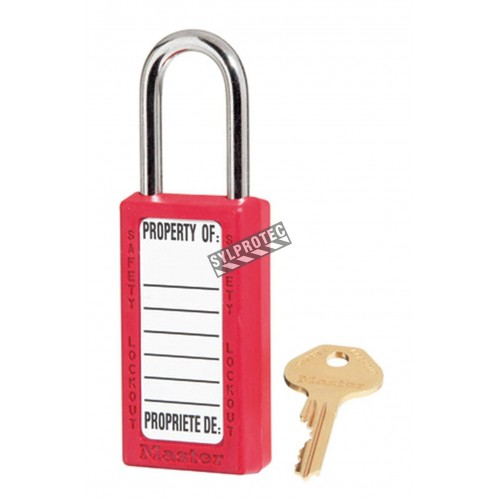 Non-conductive red padlock with Xenex® lock body ,high security, 6-pin tumbler cylinder, compliance with OSHA.