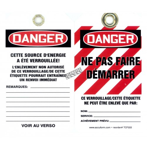 Plastic french tags ne pas faire démarer (Do not start), pack of 5 units.