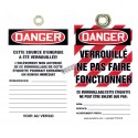 Plastic french tags Ne pas faire fonctionner (do not operate), pack of 5 units