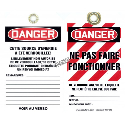 Plastic french tags Verrouillé ne pas faire fonctionner (locked do not operate). Pack of 5 units.