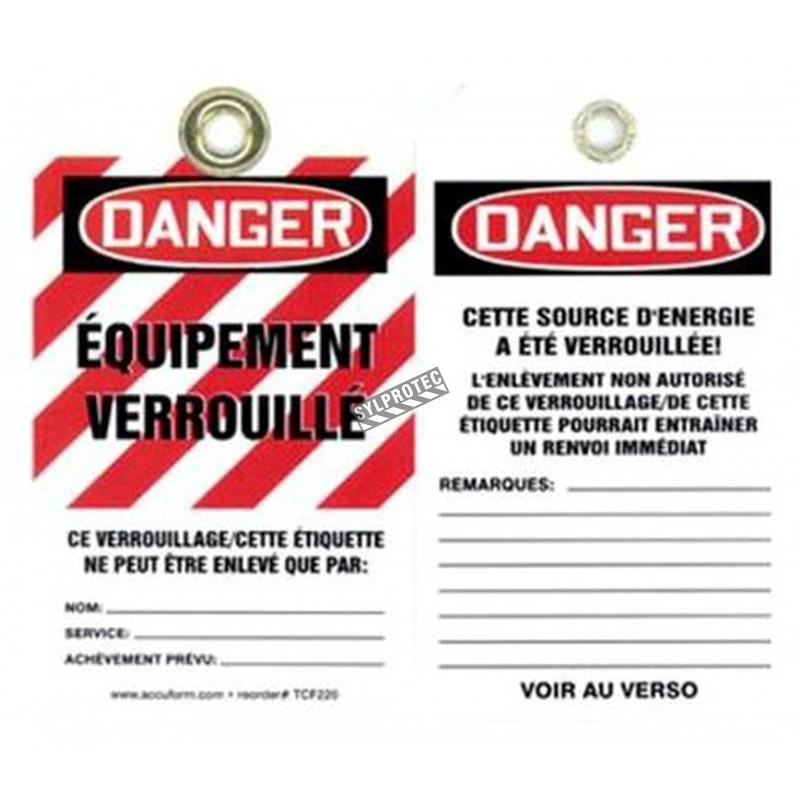 Plastic french tags équipement verrouillé, (Locked equipment), pq/ 5 units.