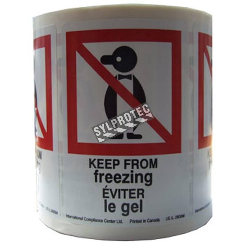 """Étiquette """"EVITER LE GEL"""" 2.5 po X 4 po, rouleau de 500. Permets de porter attention au colis lors des périodes hivernales."""