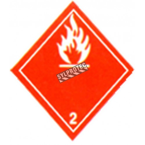 Flammable Gas label, 4 in X 4 in, rolls of 500. Use under WHMIS procedures.