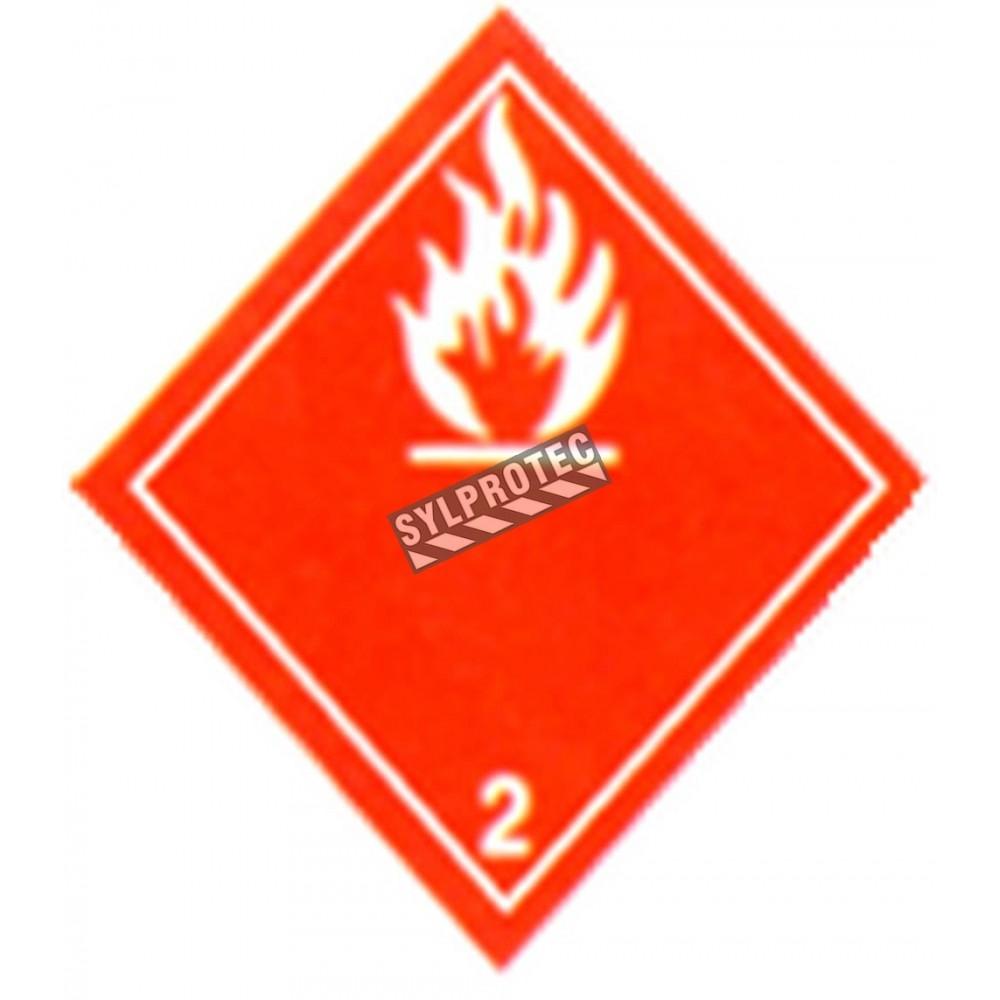 Gaz inflammable, Étiquette autocollant 4 X 4 po, rouleau ...
