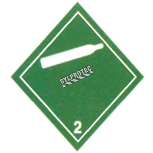 Gaz comprimé non inflammable, classe 2.2 500 Étiquette autocollant 4 po X 4 po. Utiliser dans le cadre des procédures SIMDUT.